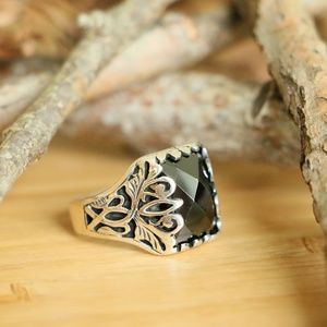 Sterling Silver Men's Ring With Black Cubic Zircon